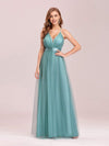 Sexy Floor Length Deep V-Neck A-Line Tulle Backless Evening Dresses-Dusty Blue 1
