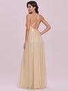 Sexy Floor Length Deep V-Neck A-Line Tulle Backless Evening Dresses-Gold 4