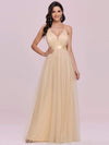 Sexy Floor Length Deep V-Neck A-Line Tulle Backless Evening Dresses-Gold 6