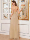 Sexy Floor Length Deep V-Neck A-Line Tulle Backless Evening Dresses-Gold 2