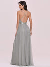 Sexy Floor Length Deep V-Neck A-Line Tulle Backless Evening Dresses-Grey 4