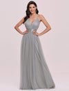 Sexy Floor Length Deep V-Neck A-Line Tulle Backless Evening Dresses-Grey 5