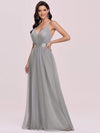 Sexy Floor Length Deep V-Neck A-Line Tulle Backless Evening Dresses-Grey 6