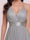 Sexy Floor Length Deep V-Neck A-Line Tulle Backless Evening Dresses-Grey 7