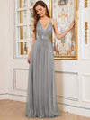 Sexy Floor Length Deep V-Neck A-Line Tulle Backless Evening Dresses-Grey 1