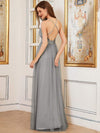 Sexy Floor Length Deep V-Neck A-Line Tulle Backless Evening Dresses-Grey 2