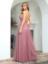 Sexy Floor Length Deep V-Neck A-Line Tulle Backless Evening Dresses-Purple Orchid 2