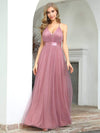 Sexy Floor Length Deep V-Neck A-Line Tulle Backless Evening Dresses-Purple Orchid 1