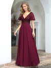 Fashion Chiffon Deep V-Neck Short Ruffles Sleeves Prom Dress-Burgundy 3