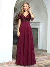 Fashion Chiffon Deep V-Neck Short Ruffles Sleeves Prom Dress-Burgundy 4