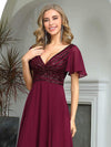 Fashion Chiffon Deep V-Neck Short Ruffles Sleeves Prom Dress-Burgundy 5