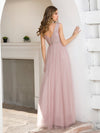 Women'S Sweet Double V Neck Embroidered Tulle Bridesmaid Dress-Pink 2