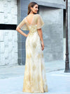 Gorgeous Gold Printed V Neck Bodycon Prom Dresses-Rose Gold 9