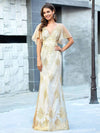 Gorgeous Gold Printed V Neck Bodycon Prom Dresses-Rose Gold 8