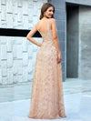 Floral Printed Sleeveless Tulle Evening Dresses With Sequin Belt-Rose Gold 2