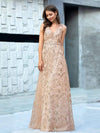 Floral Printed Sleeveless Tulle Evening Dresses With Sequin Belt-Rose Gold 3