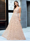Floral Printed Sleeveless Tulle Evening Dresses With Sequin Belt-Rose Gold 4