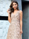 Floral Printed Sleeveless Tulle Evening Dresses With Sequin Belt-Rose Gold 5