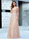 Floral Printed Sleeveless Tulle Evening Dresses With Sequin Belt-Rose Gold 1