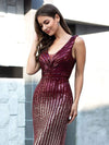 Shiny V Neck Sequin Prom Dresses For Women-Burgundy 5
