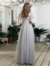 Women'S V-Neck Ruffles Sequin Dress Floor Length Prom Dresses-Grey 2