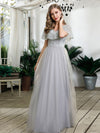 Women'S V-Neck Ruffles Sequin Dress Floor Length Prom Dresses-Grey 3