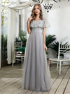 Women'S V-Neck Ruffles Sequin Dress Floor Length Prom Dresses-Grey 4