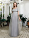 Women'S V-Neck Ruffles Sequin Dress Floor Length Prom Dresses-Grey 1