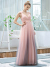Stunning Deep V-Neck Tulle A-Line Gradient Color Bridesmaid Dress-Pink 3