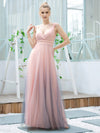 Stunning Deep V-Neck Tulle A-Line Gradient Color Bridesmaid Dress-Pink 4