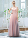 Stunning Deep V-Neck Tulle A-Line Gradient Color Bridesmaid Dress-Pink 1