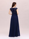 Classic Floral Lace V Neck Cap Sleeve Chiffon Evening Dress-Navy Blue 2