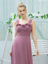 Simple A-Line Long Ruched Chiffon Bridesmaid Dresses-Purple Orchid 5