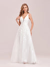 Floral Embroidered V Neck A-Line Tulle Bridesmaid Dresses With Lace-Cream 1