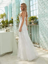 Simple V Neck Wedding Dress With Floral Embroidery-Cream 4