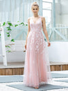 Floral Embroidered V Neck A-Line Tulle Bridesmaid Dresses With Lace-Pink 4