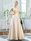 Women'S A-Line Sequins Beaded Satin Prom Dress-Gold 3