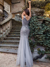 Elegant Double V Neck Fishtail Long Tulle Evening Dress With Sequin-Grey 9