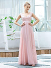 Women'S Cute A-Line V Neck Embroidered Chiffon Bridesmaid Dress-Pink 4