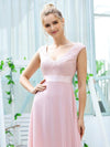 Women'S Cute A-Line V Neck Embroidered Chiffon Bridesmaid Dress-Pink 5