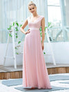 Women'S Cute A-Line V Neck Embroidered Chiffon Bridesmaid Dress-Pink 1