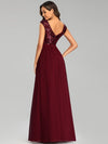 Elegant Long Sequin And Chiffon Bridesmaid Dresses With Belt For Wedding-Burgundy 2