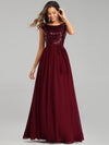 Elegant Long Sequin And Chiffon Bridesmaid Dresses With Belt For Wedding-Burgundy 4