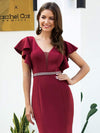 Elegant V-Neck Flutter Sleeves Bodycon Mermaid Evening Dress-Burgundy 5