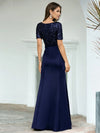 Sassy Mermaid Long Evening Dress For Women With Sequin-Navy Blue 2