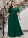 Elegant Plus Size A-Line Chiffon Evening Dress With Sequin-Dark Green 3