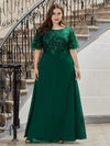 Elegant Plus Size A-Line Chiffon Evening Dress With Sequin-Dark Green 1