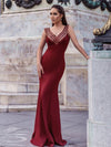 Sexy V-Neck Floor Length Mermaid Party Dress With Sequin-Burgundy 1