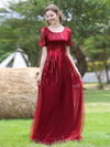 Women'S Fashion Round Neckline Floor Length Evening Dress-Burgundy 7
