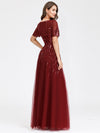 Women'S Fashion Round Neckline Floor Length Evening Dress-Burgundy 9